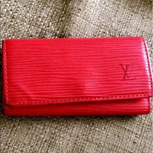 LV red Epi 4 key case
